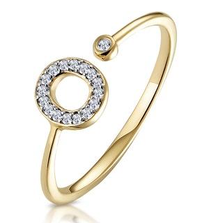 Diamond Initial 'O' Ring 0.07ct set in 9K Gold