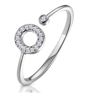 Lab Diamond Initial 'O' Ring 0.07ct Set in 925 Silver