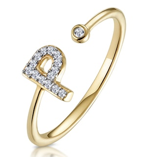 Diamond Initial 'P' Ring 0.07ct set in 9K Gold