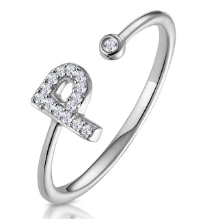 Lab Diamond Initial 'P' Ring 0.07ct Set in 925 Silver