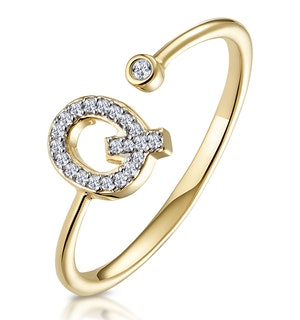 Diamond Initial 'Q' Ring 0.07ct set in 9K Gold