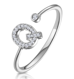 Lab Diamond Initial 'Q' Ring 0.07ct Set in 925 Silver