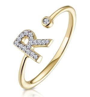 Diamond Initial 'R' Ring 0.07ct set in 9K Gold