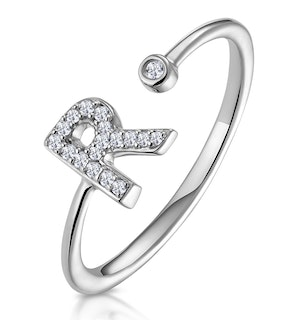 Lab Diamond Initial 'R' Ring 0.07ct Set in 925 Silver