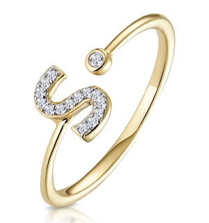 Diamond Initial 'S' Ring 0.07ct set in 9K Gold