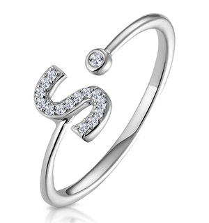 Lab Diamond Initial 'S' Ring 0.07ct Set in 925 Silver
