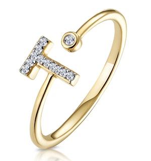 Diamond Initial 'T' Ring 0.07ct set in 9K Gold