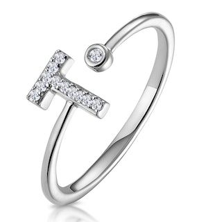 Lab Diamond Initial 'T' Ring 0.07ct Set in 925 Silver