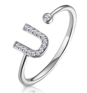 Lab Diamond Initial 'U' Ring 0.07ct Set in 925 Silver