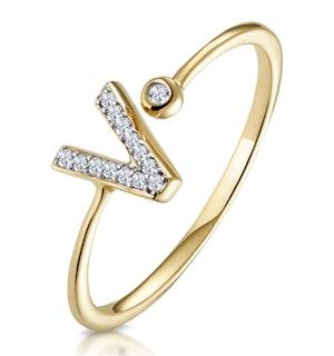Diamond Initial 'V' Ring 0.07ct set in 9K Gold