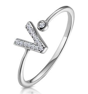 Lab Diamond Initial 'V' Ring 0.07ct Set in 925 Silver