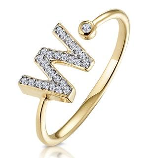 Diamond Initial 'W' Ring 0.07ct set in 9K Gold