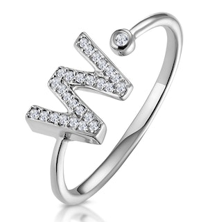 Lab Diamond Initial 'W' Ring 0.07ct Set in 925 Silver