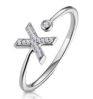 Lab Diamond Initial 'X' Ring 0.07ct Set in 925 Silver