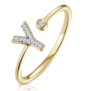 Diamond Initial 'Y' Ring 0.07ct set in 9K Gold