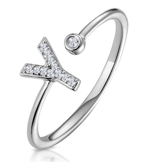 Lab Diamond Initial 'Y' Ring 0.07ct Set in 925 Silver