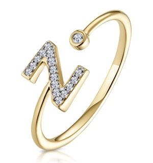 Diamond Initial 'Z' Ring 0.07ct set in 9K Gold