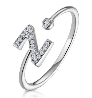 Lab Diamond Initial 'Z' Ring 0.07ct Set in 925 Silver