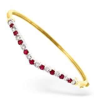 18K Gold Diamond and Ruby Wishbone Design Bangle 1.15ct R 1.35CT