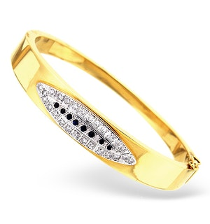 18K Gold Diamond and Sapphire Design Bangle 0.50CT