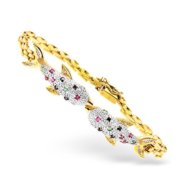 18K Gold Diamond and Multi Stone Dolphin Design Bracelet 0.05CT - image 1