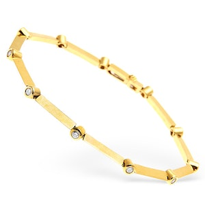 18K Gold Diamond Rubover Set Line Bracelet 0.50CT