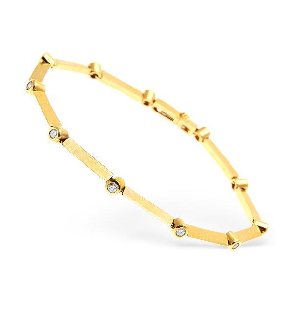 18K Gold Diamond Rubover Set Line Bracelet 0.50CT - image 1