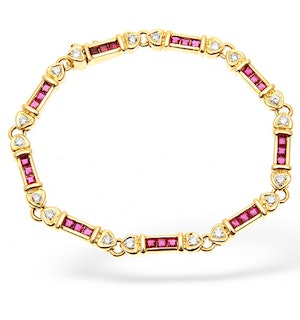 18K Gold Diamond and Ruby Bar Bracelet 0.50CT