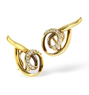 14K Gold Channel Set Diamond Twist Design Earrings