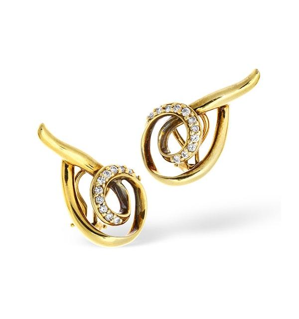 14K Gold Channel Set Diamond Twist Design Earrings - image 1