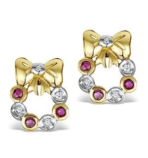 Ruby 0.10ct Diamond 0.10ct 18K Gold Earrings - RTC-EG231