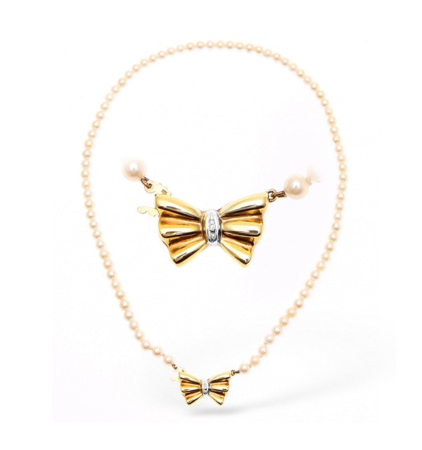 9K Gold Pearl and Diamond Necklace with Bow Detail 14Inches - image 1