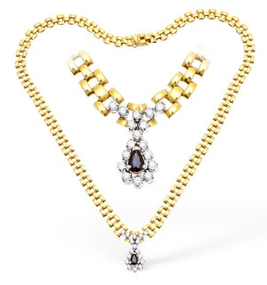 18KY Diamond and Sapphire Drop Necklace 0.75ct 16Inches