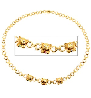18KY Diamond Multi Stone Teddy Bear Necklace 0.10CT 16Inches