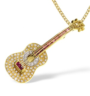 18K Gold Pave Diamond and Ruby Guitar Brooch - Pendant