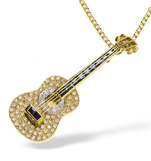 18K Gold Pave Diamond and Sapphire Guitar Brooch - Pendant