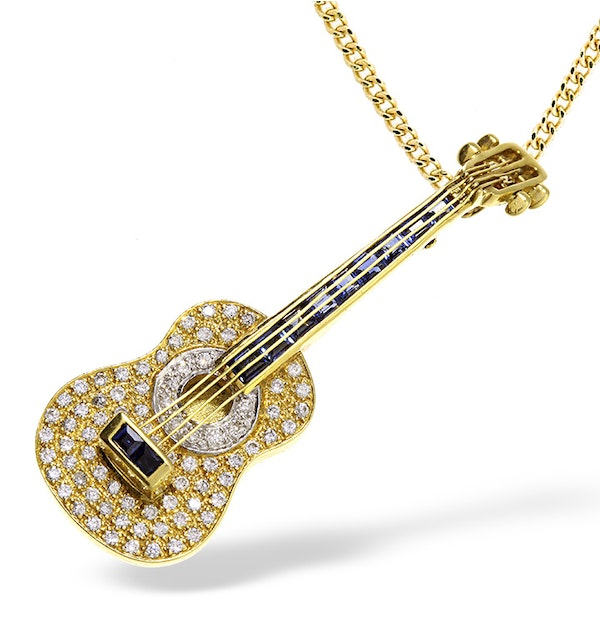 18K Gold Pave Diamond and Sapphire Guitar Brooch - Pendant - image 1