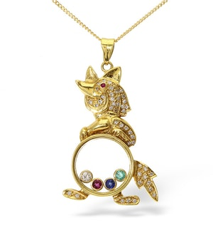 18K Gold Multi Stone Fox Floating Pendant