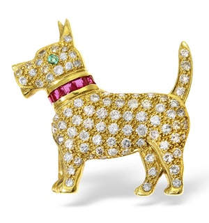 18K Gold Diamond Ruby and Emerald Dog Brooch