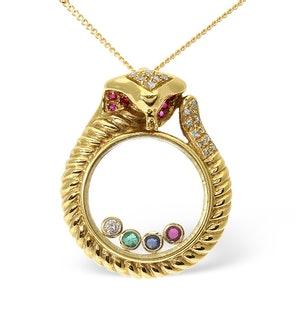 18K Gold Diamond and Multi Stone Floating Pendant
