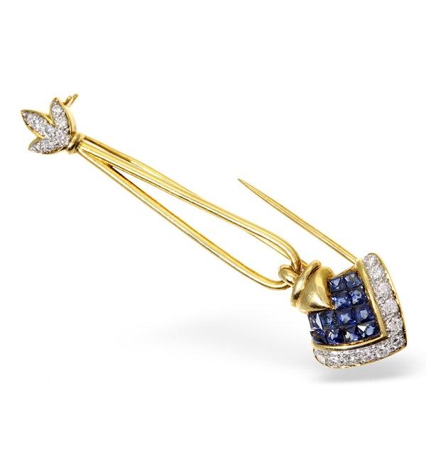18K Gold Diamond and Sapphire Arrow Brooch - image 1
