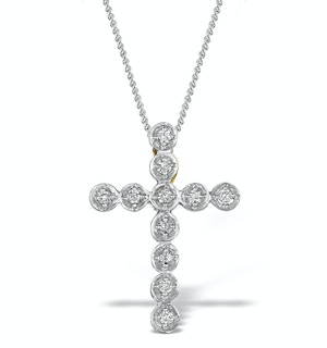 Diamond 0.27ct 9K Gold Cross Pendant - RTC-ER276