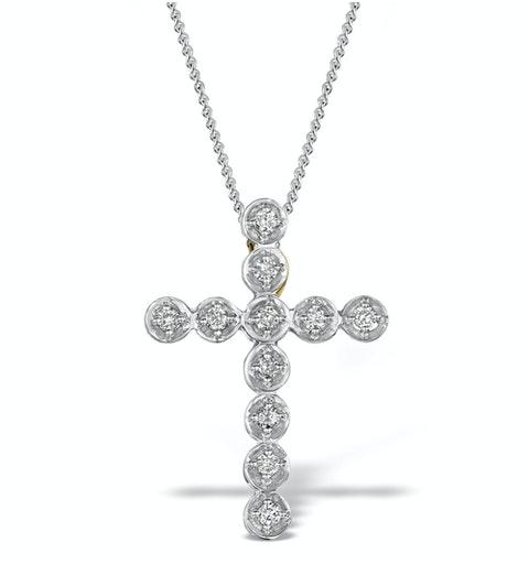 Diamond 0.27ct 9K Gold Cross Pendant - RTC-ER276 - image 1