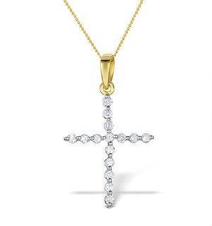 Diamond 0.32ct 9K Gold Cross Pendant - RTC-ER277