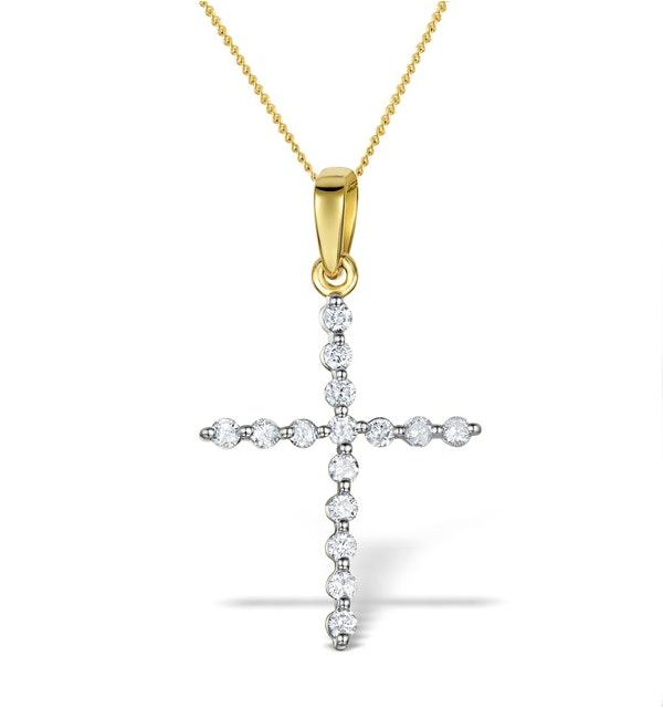 Diamond 0.32ct 9K Gold Cross Pendant - RTC-ER277 - image 1