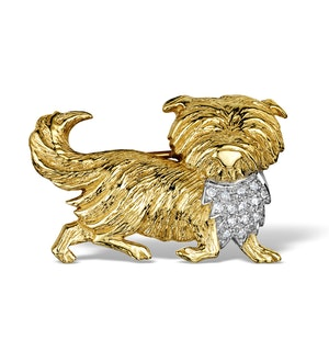 Diamond 0.15ct 9K Gold Dog Brooch - RTC-ER288