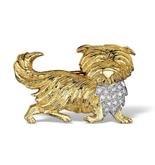 Diamond 0.15ct 9K Gold Dog Brooch - RTC-ER288 - image 1
