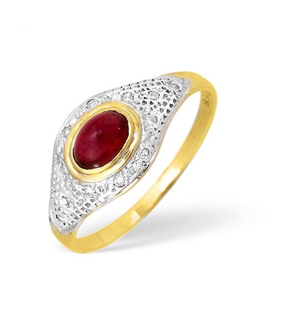 9K Gold Diamond and Pink Tourmaline Pave Ring 0.05CT - image 1