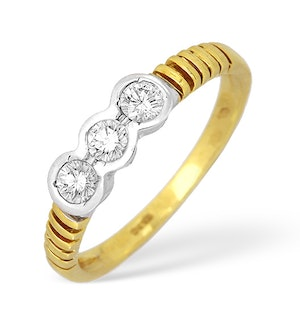 18K Gold Diamond Three Stone Rubover Ring 0.50ct