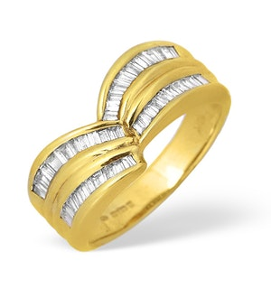 18K Gold Baguette Diamond Channel Set Design Ring 0.60ct